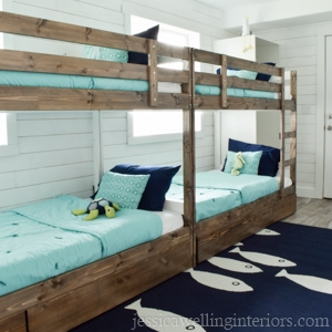 beach house bunk room showing 4 bunks,