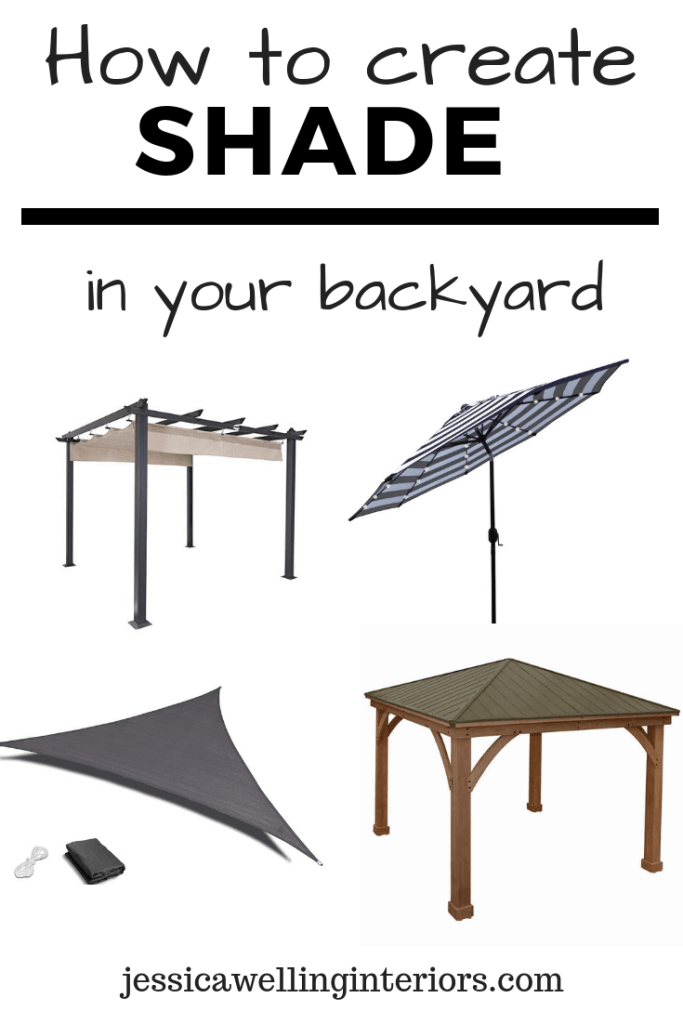 collage of backyard shade structures including a pergoala, umbrella, gazebo, and shade sail