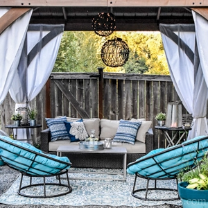 Costco gazebo from Yardistry Structures with an outdoor living room inside