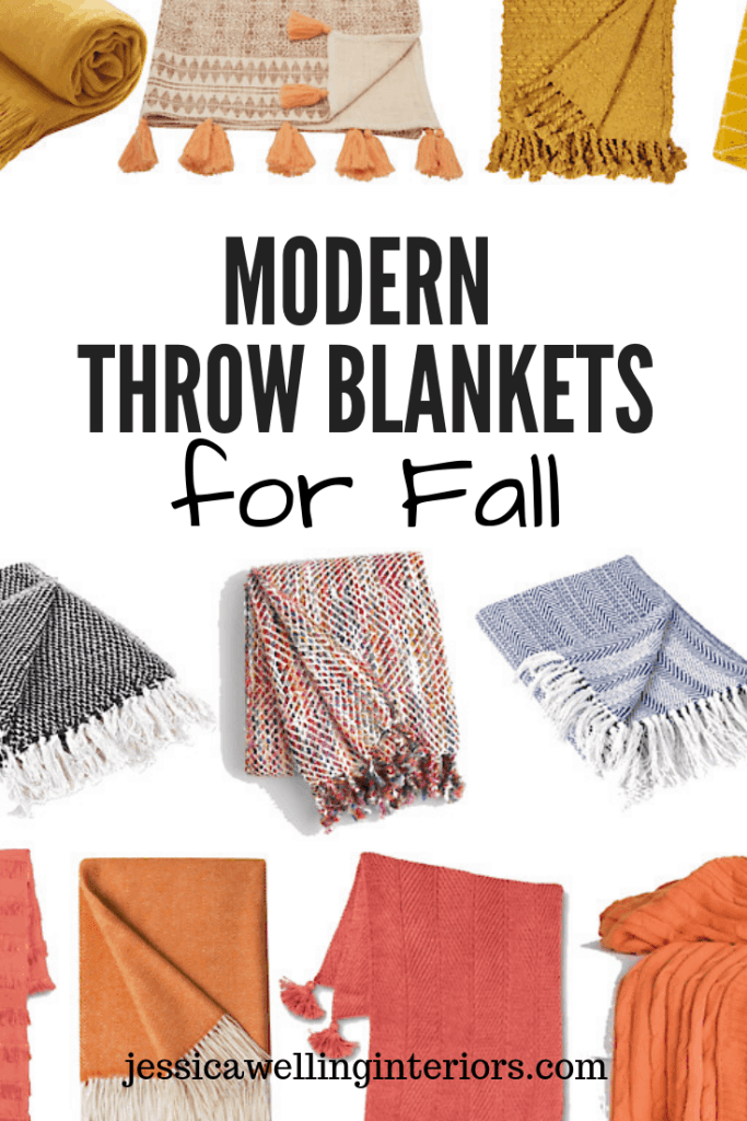 Modern Throw Blankets for Fall: collage of colorful Fall throw blankets over a white background