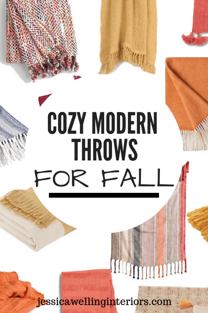 Cozy Modern Throws for Fall collage of colorful yellow and orange Fall throw blankets with writing overlay