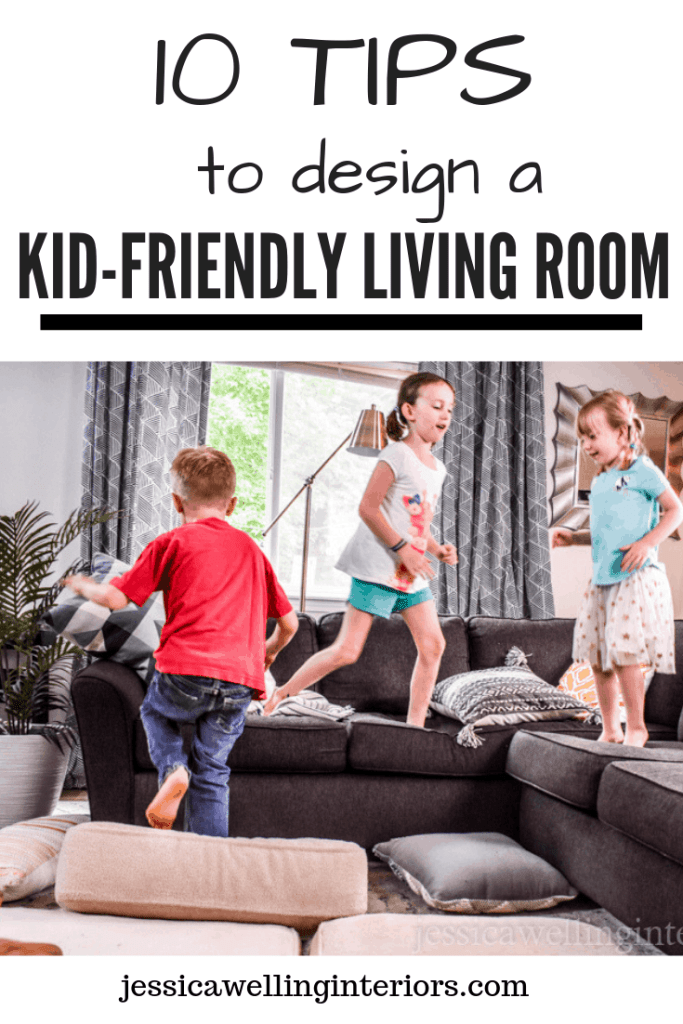 10 Tips to Design a Kid-Friendly Living Room, three children jumping on a sectional sofa