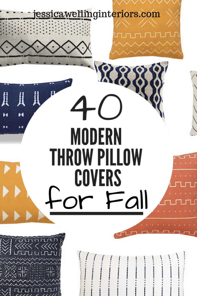 40 Modern Throw Pillow Covers for Fall: yellow, orange, white, and navy throw pillows on a white background