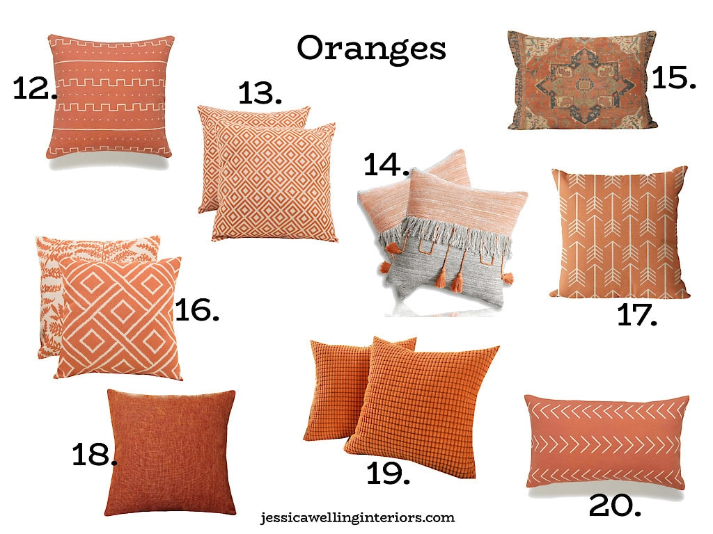Orange Throw Pillow Covers: modern patterned orange throw pillows on a white background, numbered 12-20