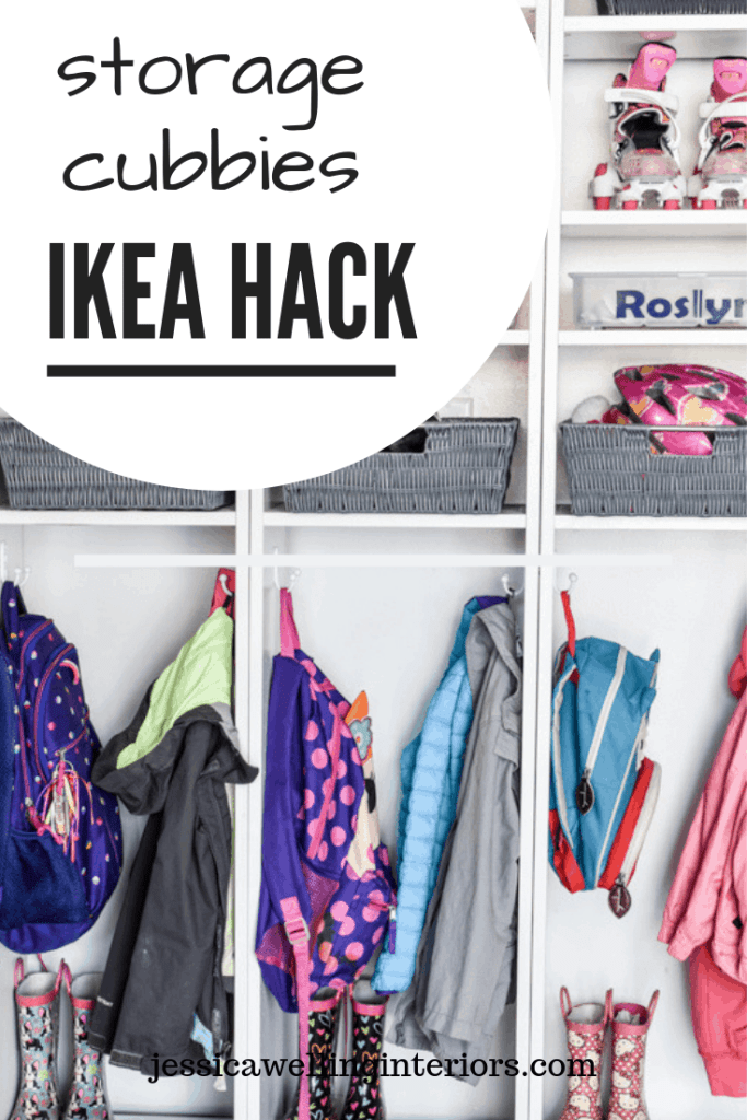 Backpack Organizer Ikea Hack Billy bookcase hack used as cubbies to hang kids backpacks, coats, and boots