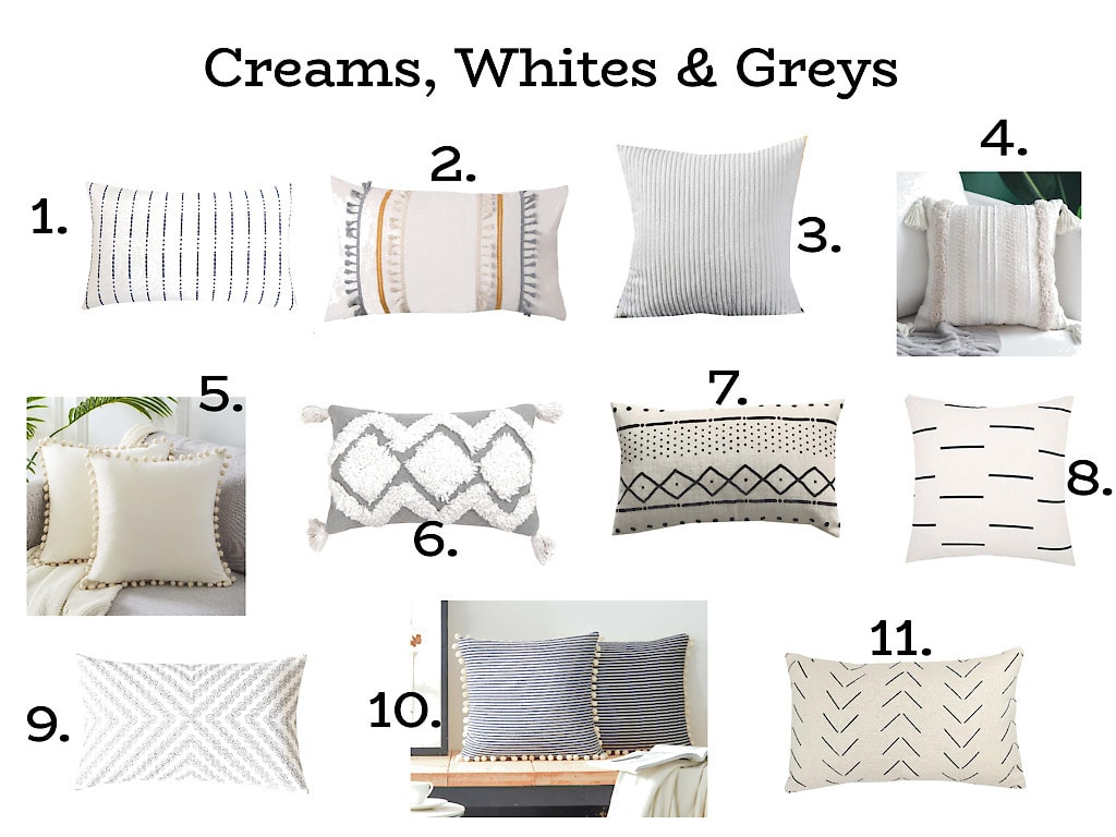 Cream, white, & grey throw pillow covers, 11 neutral modern patterned throw pillows on a white background, each numbered 1-11