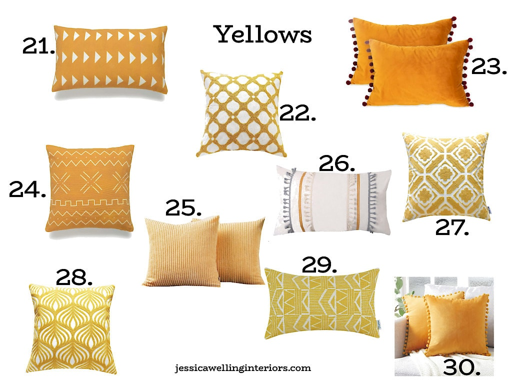 Yellow Throw Pillow Covers: mustard yellow throw pillows on a white background, numbered 21-30