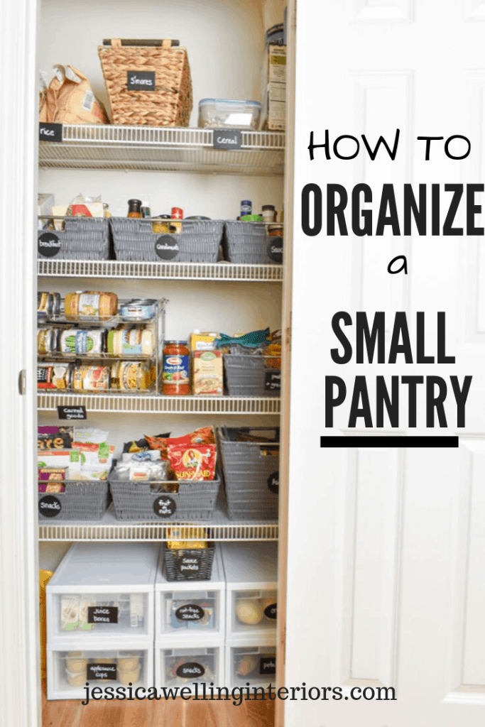 How To Organize a Small Pantry: narrow pantry closet with labeled baskets of food and canned goods