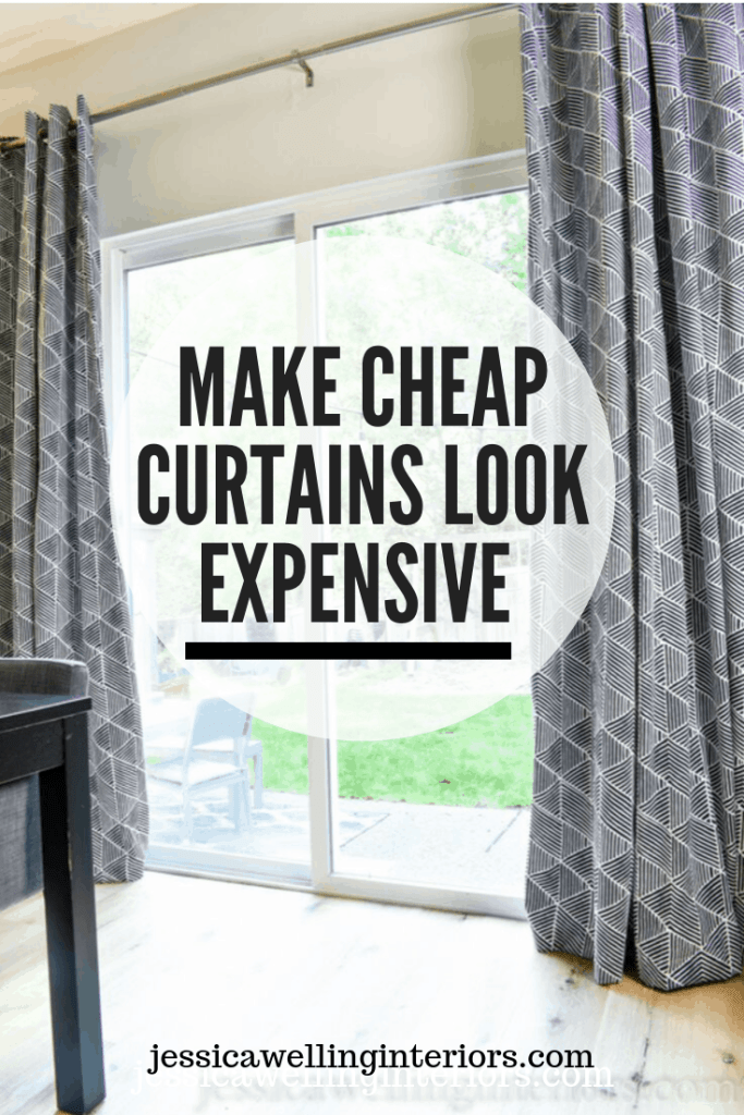 Make Cheap Curtains Look Expensive: two curtains hanging over a sliding glass door