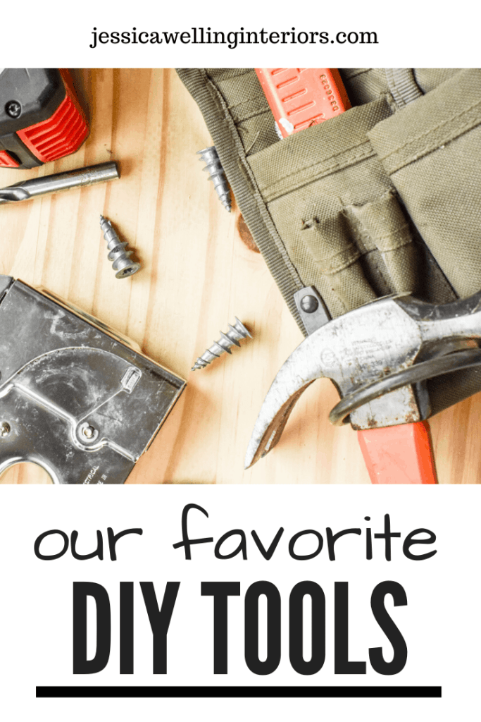 Out Favorite DIY Tools: perfect gifts for men - image of wood background with tool belt and hammer, staple gun, tape measure and screws