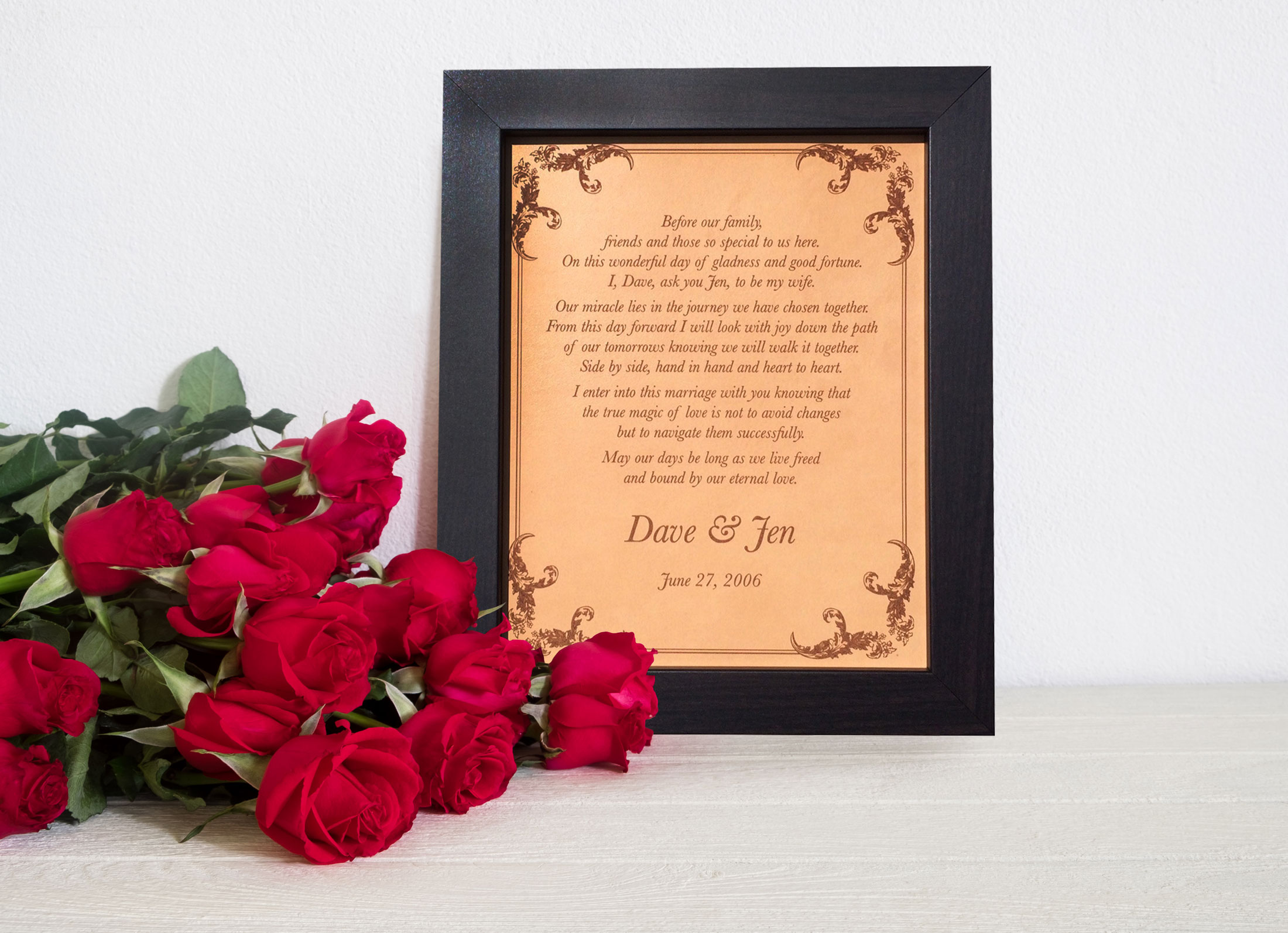 Wedding Vows Engraved On Leather, Leather Anniversary Gift