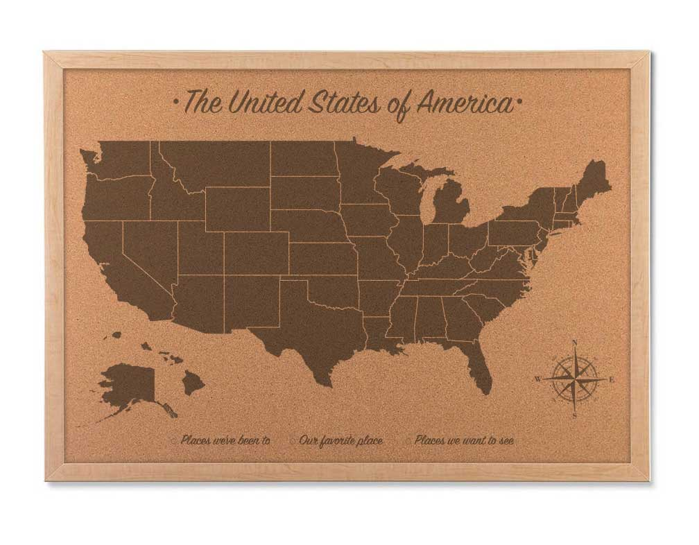 Cork Map Of The United States Cork US Travel Map Cork Board Map - Us travel map on cork board