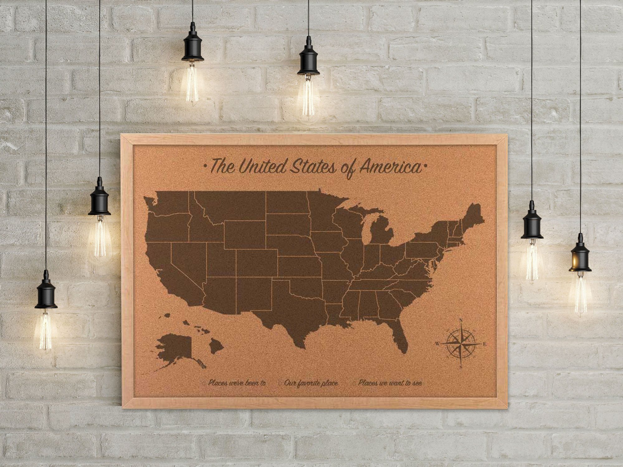 Cork Map Of The United States Cork US Travel Map Cork Board Map - Map of the united states cork board
