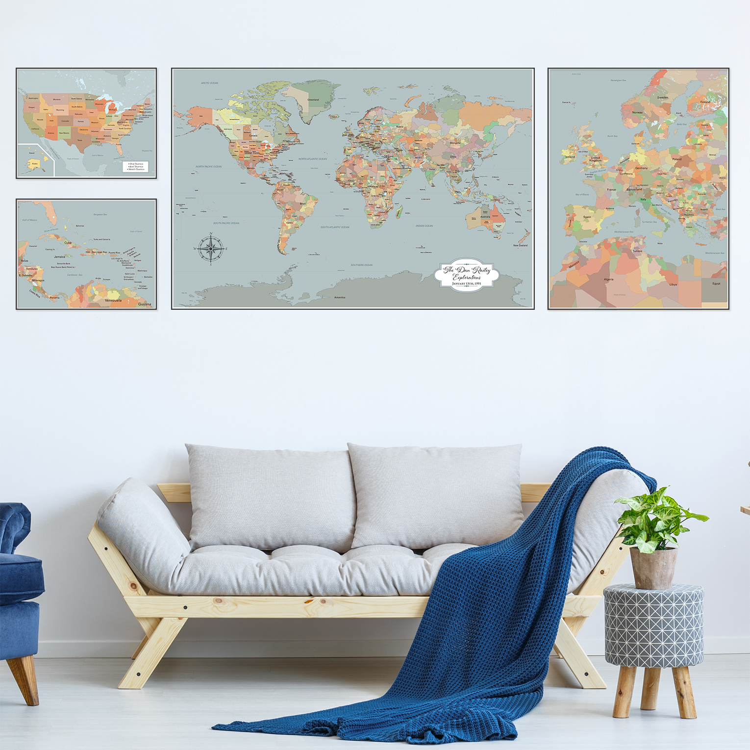 Large world map wall art set of 4 push pin maps with pins large world map wall art set of 4 push pin maps with pins personalized amipublicfo Images