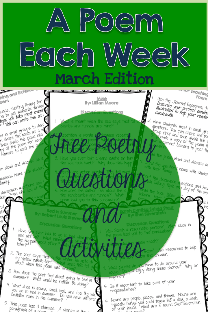 FREE March a Poem Each Week. Questions and activities to accompany 4 March-Themed poems.