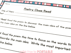 Poetry Close Read for Any Poem