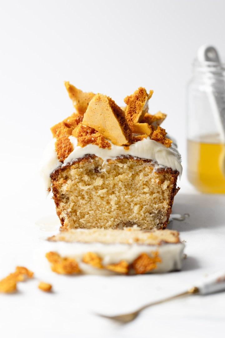 Honeycomb walnut loaf cake