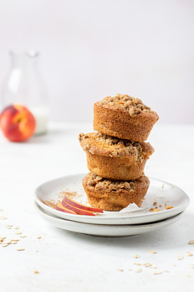 Stack of peach muffins