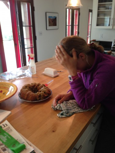"""""""Where did we go wrong?? why?"""" Anne bemoans the fate of the zucchini cake"""