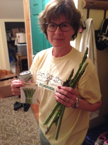 It's hard to beat eating fresh vegetables that you've grown yourself! Mom harvesting some of the asparagus.