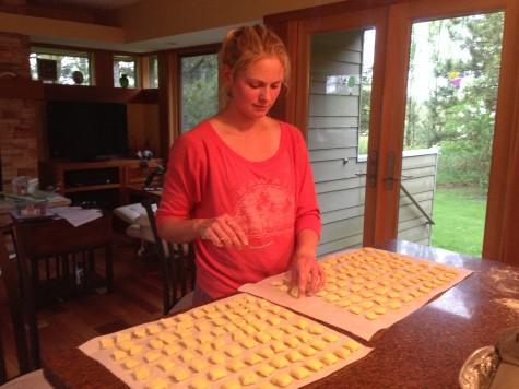 Making homemade gnocchi  for dinner!