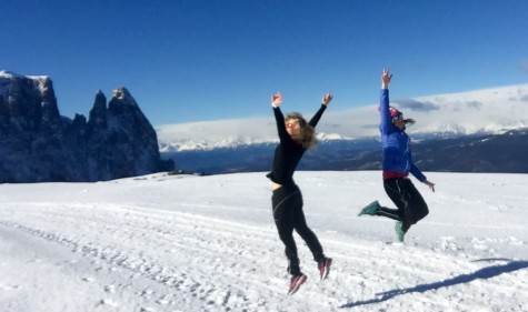 Sadie and I having a little mountain-top dance party (photo from Sadie)