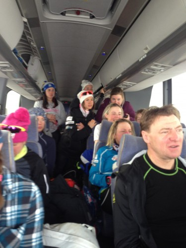 The girls bus ride to Quebec city, with everyone watching the men's race during a windy snowstorm!
