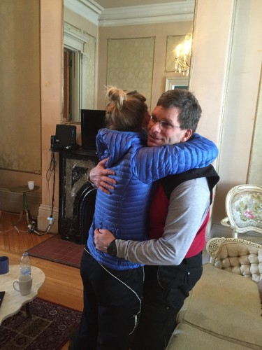 Pre-tour good luck hugs from Dad
