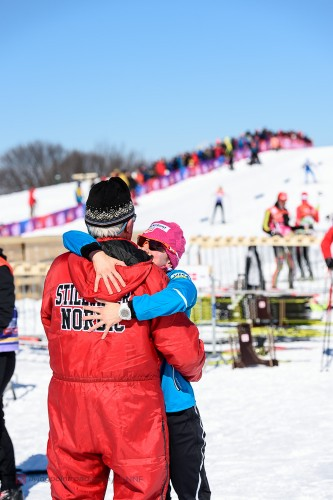 Getting a hug from Stillwater coach Bob! (photo from flying point road)