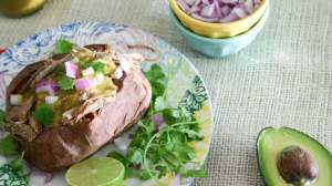 Creamy Roasted Tomatillo Sauce with Stuffed Sweet Potatoes