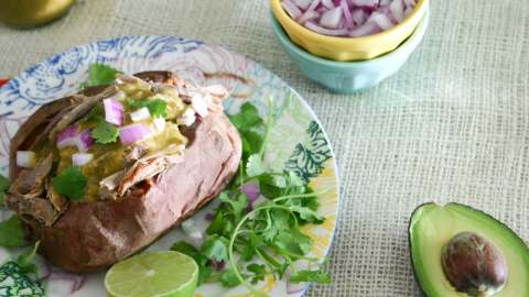 Tomatillo Stuffed Sweet Potato
