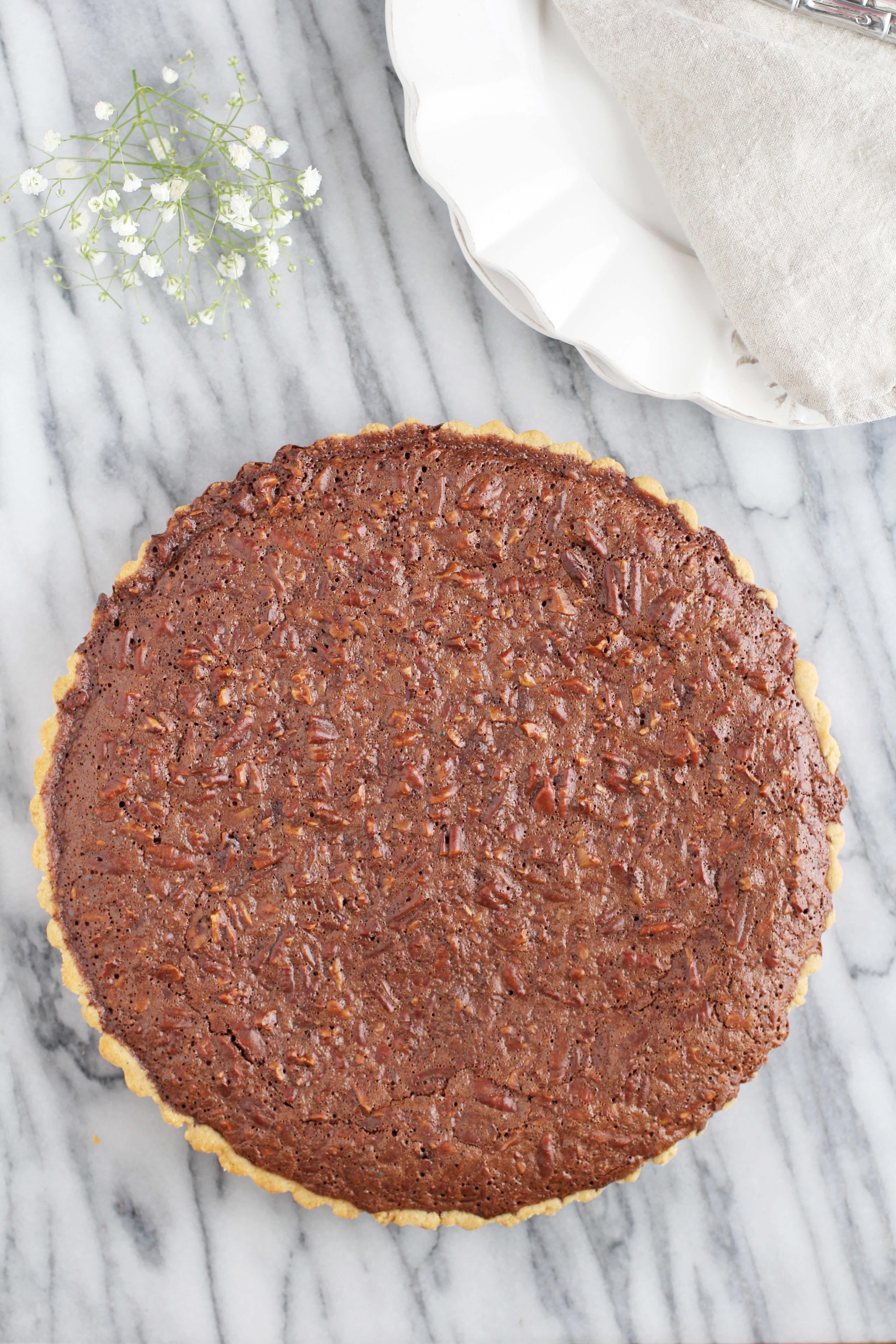 Gluten Free Chocolate Bourbon Pecan Pie - Jessi's Kitchen