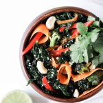 Ginger Teriyaki Kale Salad with Roasted Broccoli