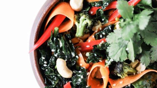 Ginger Teriyaki Kale Salad with Roasted Broccoli