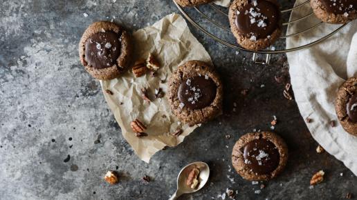 Chocolate Tahini Thumbprint Cookies