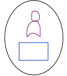 a person and a box inside a wall
