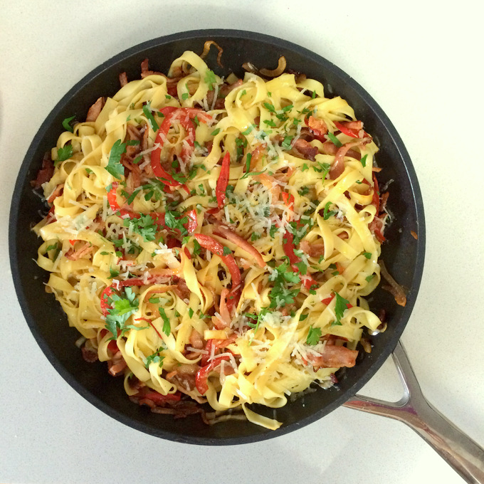 Bacon and Red Pepper Tagliatelle