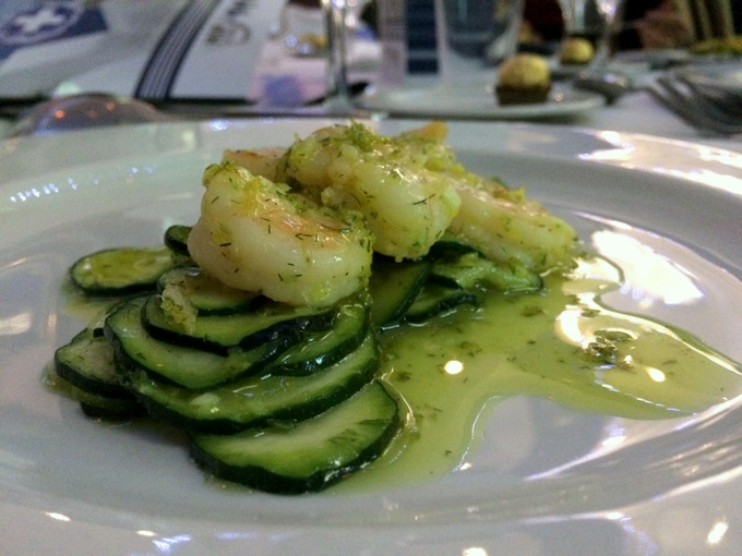 Courgettes with saffron vinigarette