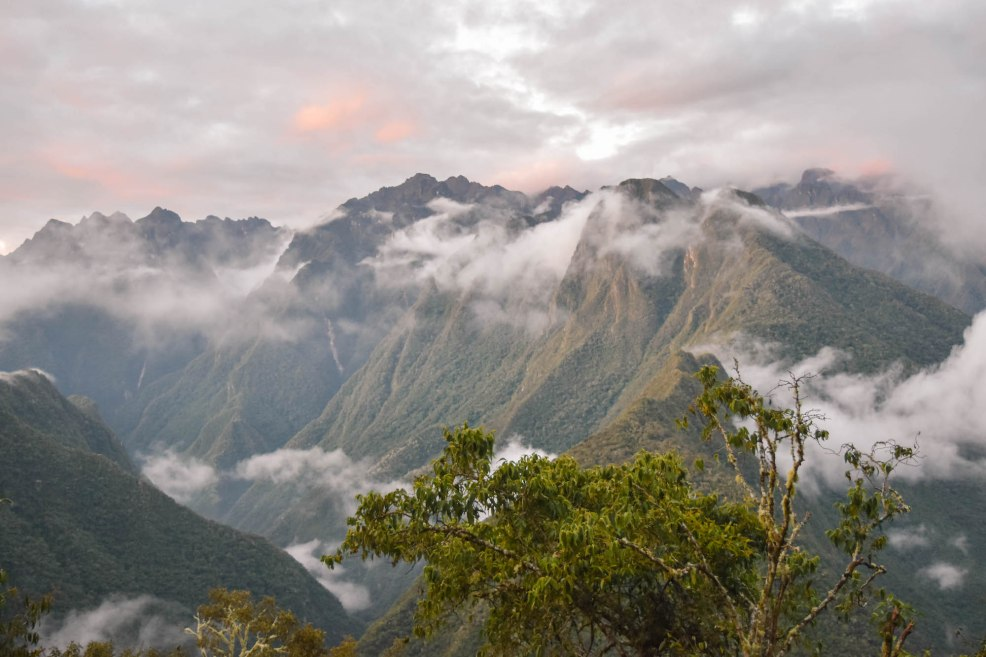 beautiful sunset over the mountains at winay Wayna on the Inca trail to Machu Picchu
