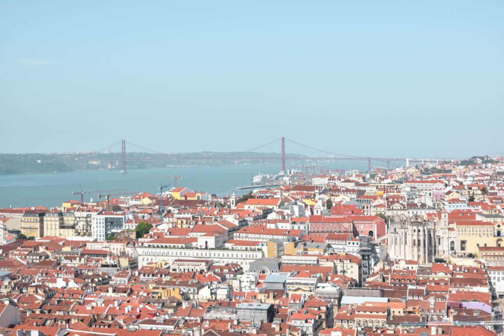 view of Lisbon from Castelo de Sao Jorge in Lisbon Portugal