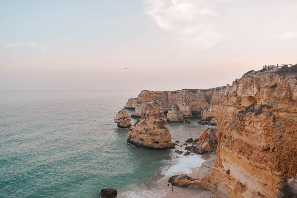 View from the top of Praia de Marinha at sunset in Lagos Algarve Coast Portugal