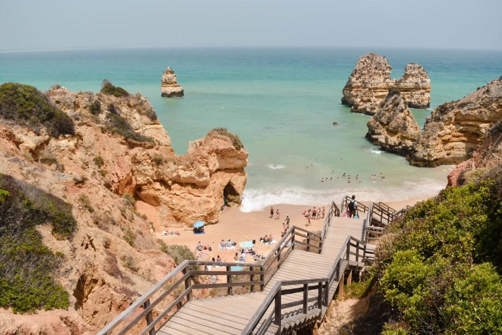 Staircase lading to Praia do Camilo in Lagos Portugal