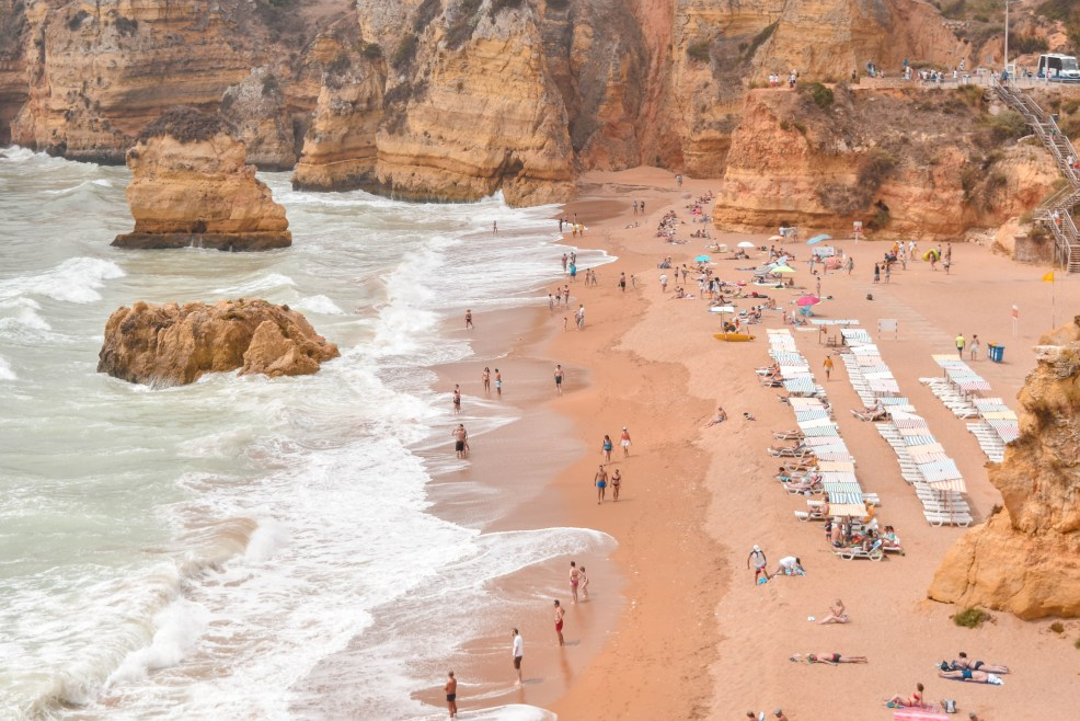 Beach at Praia Dona Ana in Lagos Algarve Portugal