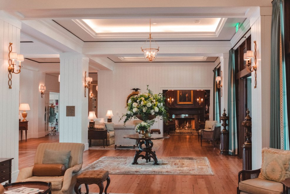 The lobby of the Inn at Montage Palmetto Bluff