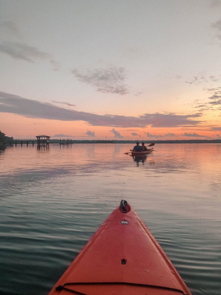 Kayaking along the May river at sunrise.
