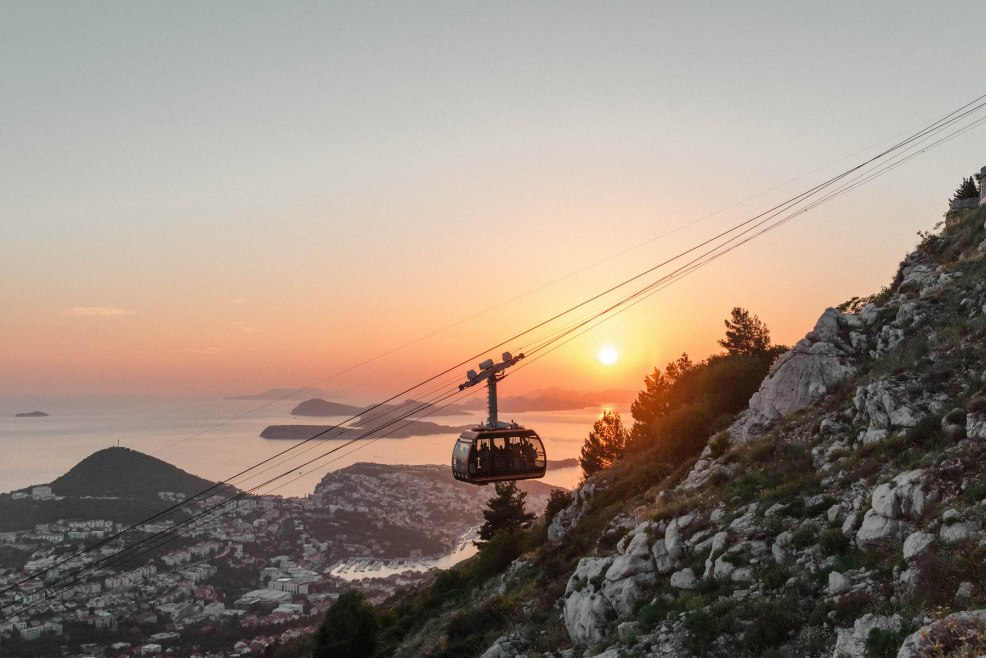 Sunset view of Dubrovnik from Mount Srd