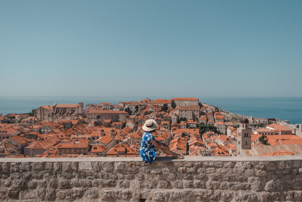 Looking over the terra cotta roofs of Dubrovnik from the city walls