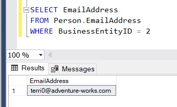 select statement showing email unchanged
