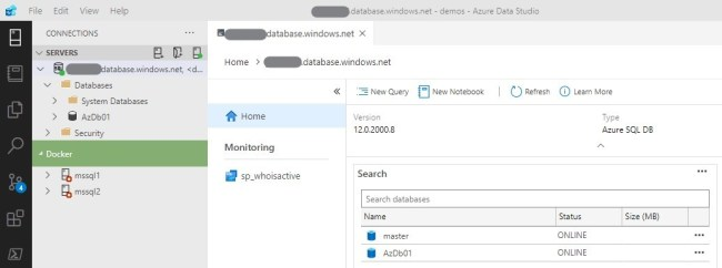 ADS connected to Azure SQL Database