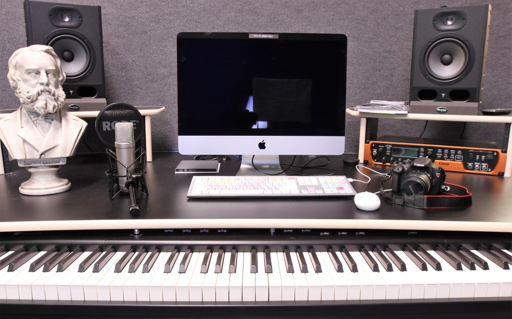 Closeup of Recording Studio Desktop and Keyboard